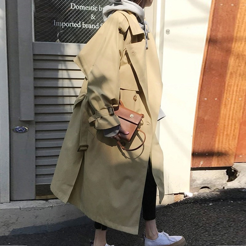 Long   Trench   Coat for Women 2019 Fashion Double-breasted Casual Windbreaker Overcoat Spring Coat Women Outwears