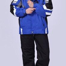 Теплые костюмы для сноубординга, мужские зимние лыжные костюмы, Мужская Водонепроницаемая дышащая зимняя куртка+ штаны, лыжные комплекты, комплект для сноуборда