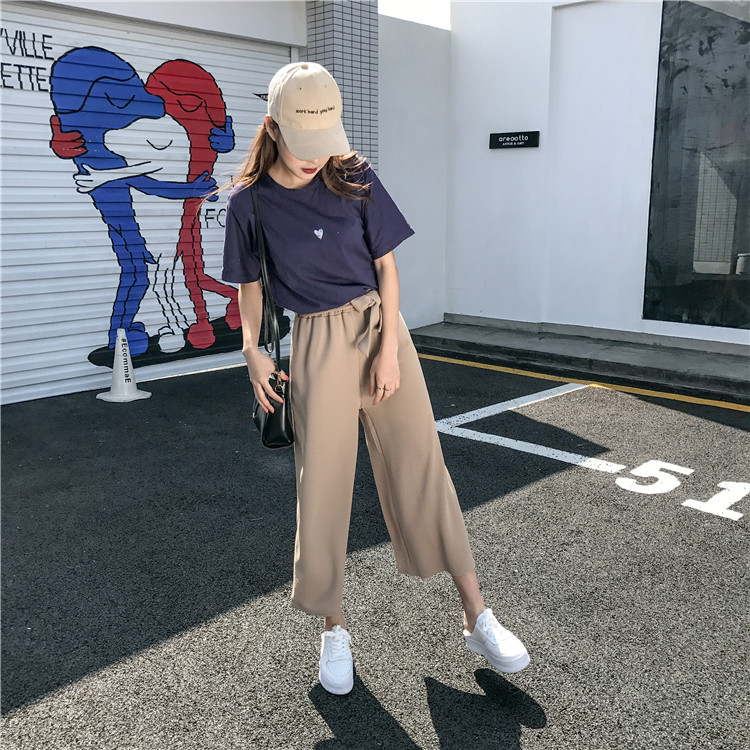 19 Women Casual Loose Wide Leg Pant Womens Elegant Fashion Preppy Style Trousers Female Pure Color Females New Palazzo Pants 6