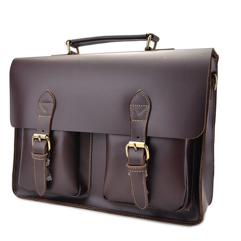 New Foreign Trade Import Men Crazy Horse Leather Men Business Briefcase 16 Inches Big Capacity Laptop Bag 1061