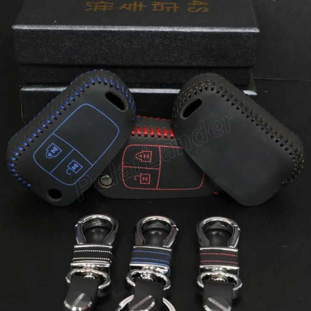 Sólo rojo hecho a mano mejor regalo caso apto para CHEVROLET SAIL 3 AVEO de coser a mano de coche caso clave de cuero genuino de la calidad llave del coche cubierta