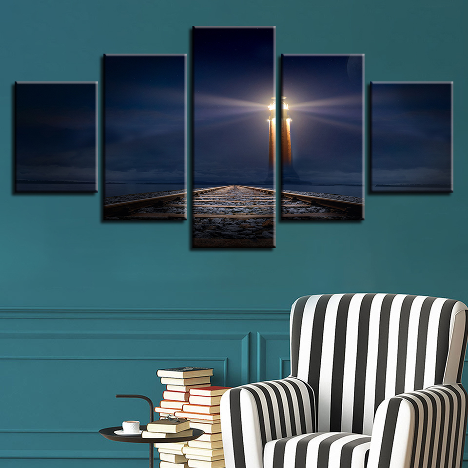 For Living Room Modern HD Printed Pictures Frame Canvas 5 Panel Night Railway Landscape Wall Art Home Decor Painting Poster