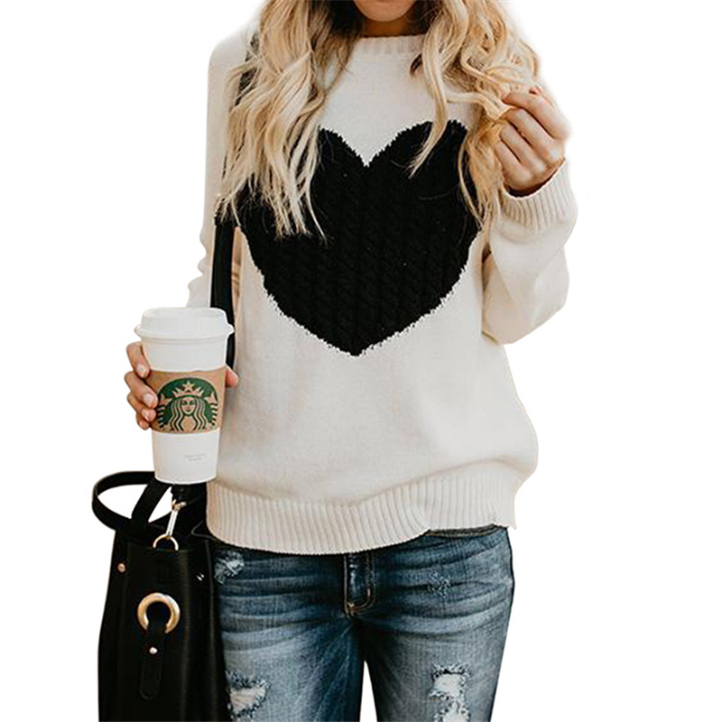 Casual Autumn Woman Sweaters Pullover Love Sweater Women ...