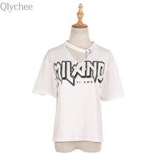 Qlychee Halter V neck letter Print T Shirt Women Summer Loose Casual Short Sleeve Cotton Tops Tees