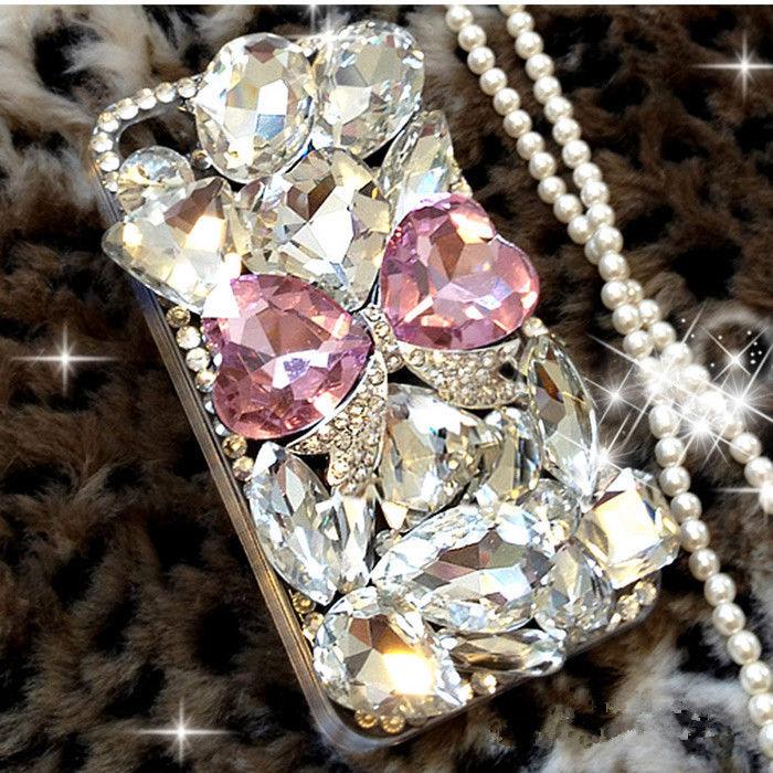 Bugetelefon er luksus Bling Diamond Gem Flower Crystal Hard Case - Mobiltelefon tilbehør og reparation dele - Foto 3
