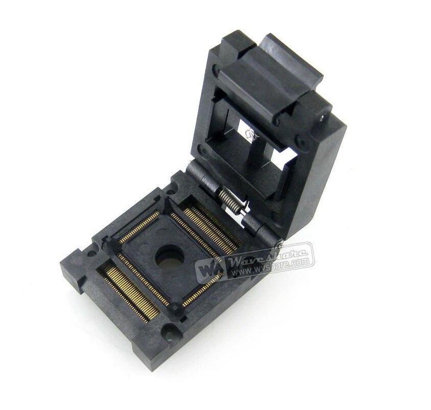 module QFP128 TQFP128 LQFP128 PQFP128 FPQ-128-0.5-03A QFP IC Socket Adapter Programmer Enplas 0.5mm Pitch Clamshell clamshell qfp144 lqfp144 tqfp144 su h8s2505 tq144 programmer adapter for lp programmer