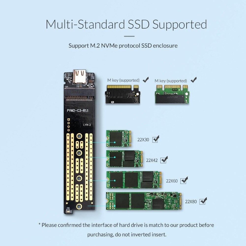 ORICO Transparent M.2 boîtier SSD NVME 10gbps Soutien UASP USB3.1 Gen2 Type-c Mini SSD Boîtier Avec C à C et C avec Un Câble - 4