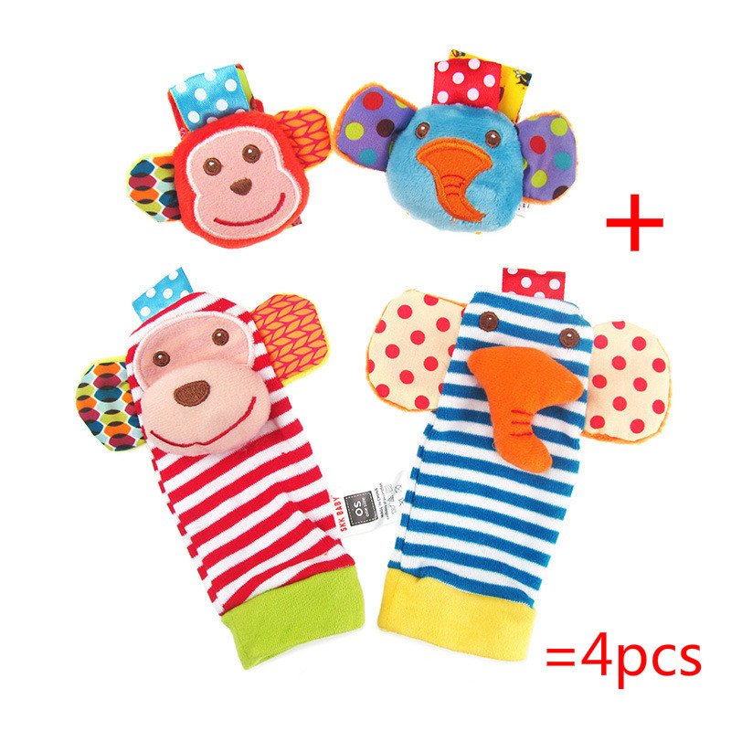 4ks (2ks ponožky + 2ks zápěstí) Hot nové dítě kojenecké dětské ponožky a zápěstí chrastítka roztomilý duševní vývojové hračky zvíře