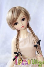 High Temperature Fiber good quality synthetic long blonde braided wavy 1/3 1/4 1/6 bjd /American doll wigs for sale