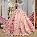 IBayU С Плеча Свадебные Платья 2017 Платье De Noiva Принцеса Luxo Сирень Светло-Розовый Свадебное Платье Исламская Свадебные Платья