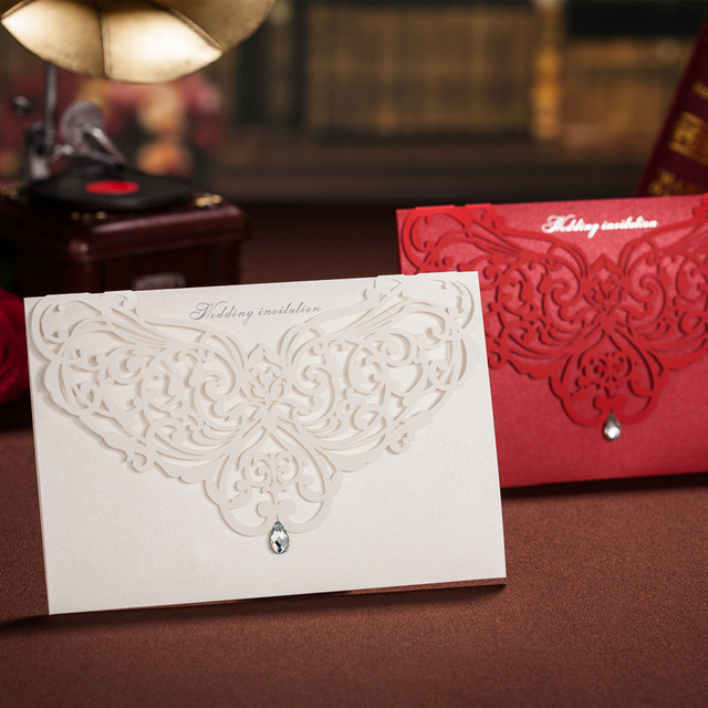 100pcs Laser Cutting Invitation Card Blank Red White Paper Wedding