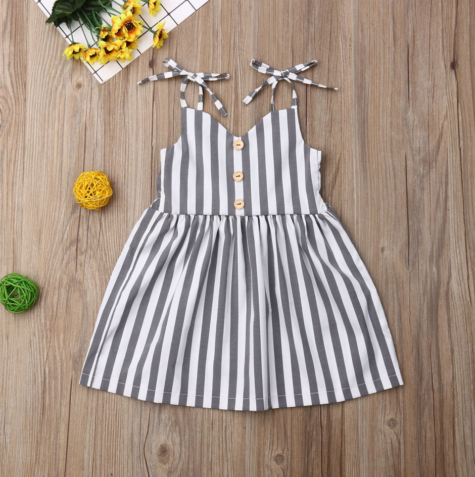 Pudcoco Summer Toddler Baby Girl Clothes Sleeveless Striped Strap Dress Outfit Summer Clothes Sundress
