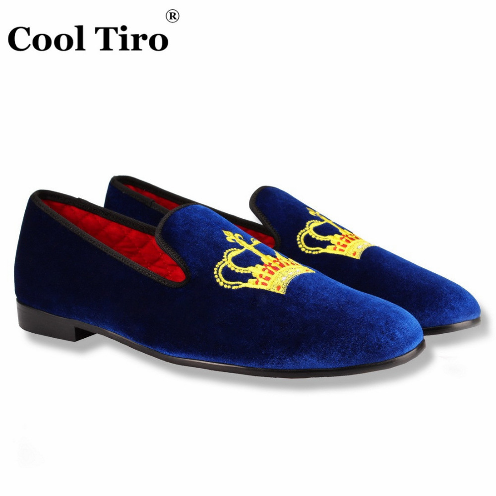 COOL TIRO Blue/White / purple Velvet men flats loafers casual Imperial crown Dress Wedding Handmade Luxury Smoking Slip-on shoes