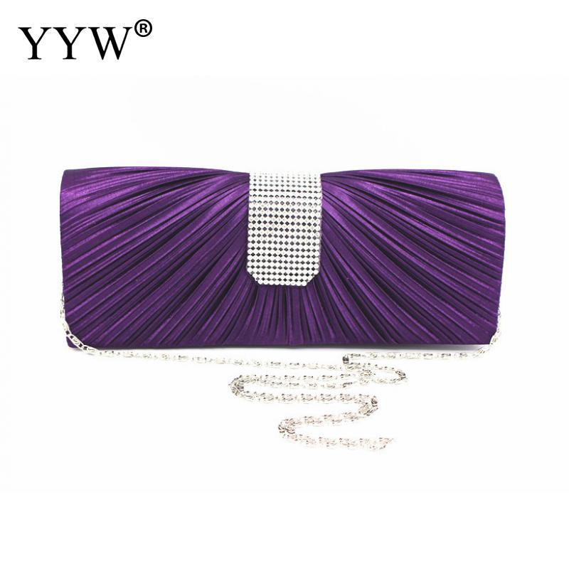 Purple Satin Silk Women Purse And Handbag Rhinestone Box Bag Black Evening Party Clutch Bag Long Wallet HandBag Black Clutch Bag