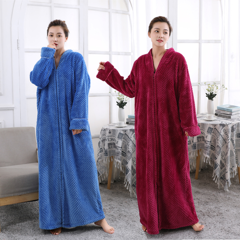 2019 Autumn Winter Men Women Large Size Coral Fleece Bathrobe Lovers Thickened Long Paragraph Flannel Nightgown Warm Sleep Dress