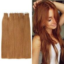 16″-28″ Tape In Hair Extensions Straight Hair Brazilian Virgin Hair Glue Skin Weft Hair Extension 20pcs/lot Free Shipping