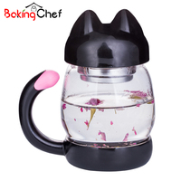 Cute Cat Shape Tea Glass Cup Bottle Flower Boiling Water Drinking Portable Travel Home Accessories Supplies
