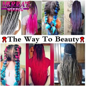 Image 2 - Mirra's Mirror 5pcs Jumbo Braid Hair Crochet Braids Synthetic Hair Ombre Braiding Hair Extensions Three Tone 24inches