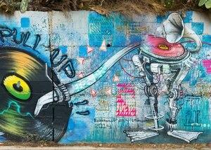 Виниловый фон для студийной фотосъемки с изображением граффити Барселона виниловая ткань Высокое качество компьютерная печать настенный ...