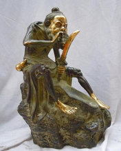 wholesale factory 12″ China copper bronze gild carved Sharpen a knife elder Sculpture Statue