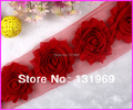 """hot sale 2.5"""" Shabby Frayed Chiffon Chic Rose Flowers for Headband,hair clip Trim Yard accessories  Free shipping Red  #4"""
