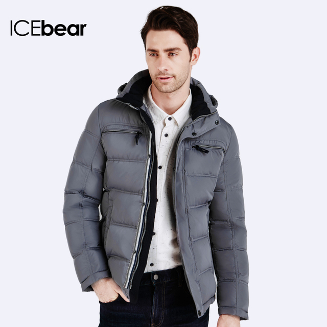 ICEbear 2016 Зимние Куртки И Пальто Мужской зимний пуховик лёгкий короткий городской стиль Куртка мужская молодежная Сьемный капюшон пуховика 16MD895