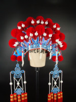Drama activities opera hat helmet bride headdress costume phoenix coronet robes pompon Coronet chinese style hat 20colors