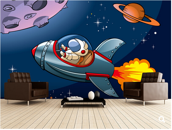 Custom Papel De Parede InfantilKids Spaceshipcartoon Murals For Childrens Room Bedroom Backdrop Waterproof Wallpaper Paradise