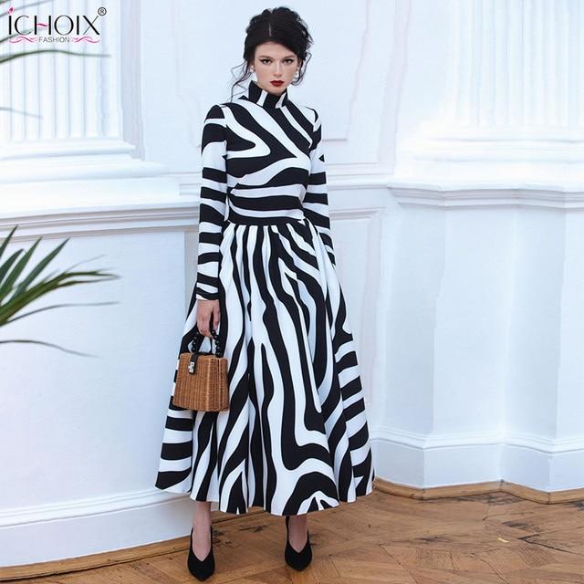 5ff3564b60 2018 Outono Elegante Vestido Longo Inverno Mulheres Listrado Maxi Vestidos  Da Cópia Da Zebra Do Vintage