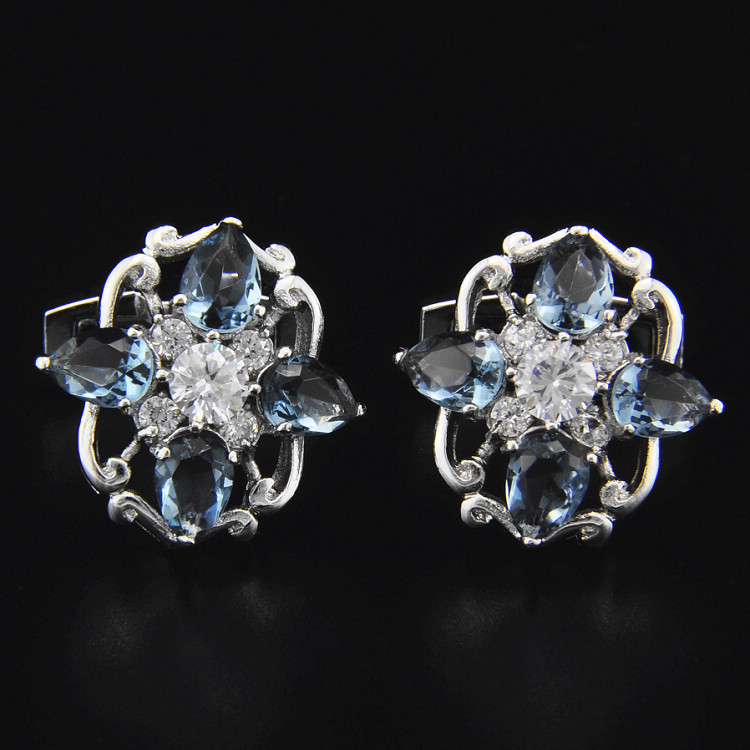 SPARTA Plated with White Gold light blue AAA zircon cufflinks men's Cuff Links + Free Shipping !!! High quality metal buttons