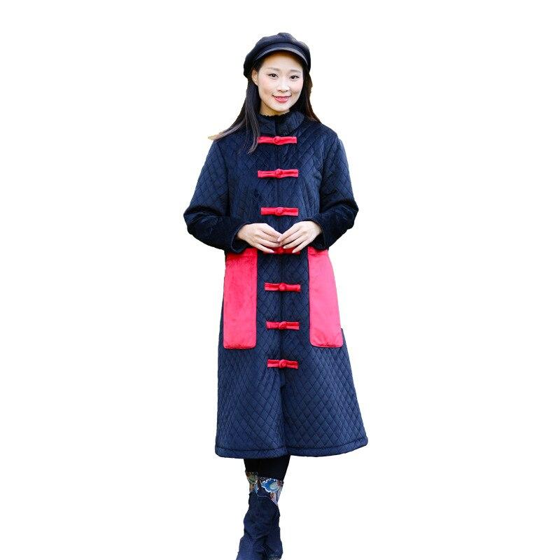Manteau Femmes Hiver Chinois Plaque Bouton Bleu Section Costume Marine Automne Style Longue Cardigan Rétro Coton National De tvnxRww75
