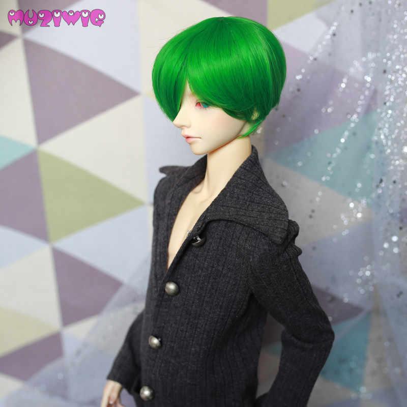 MUZIWIG 2018 bjd 1/3 1/4 синтетический ярко-зеленый мальчик стиль красивые короткие волосы для куклы для SD парики для кукол аксессуары