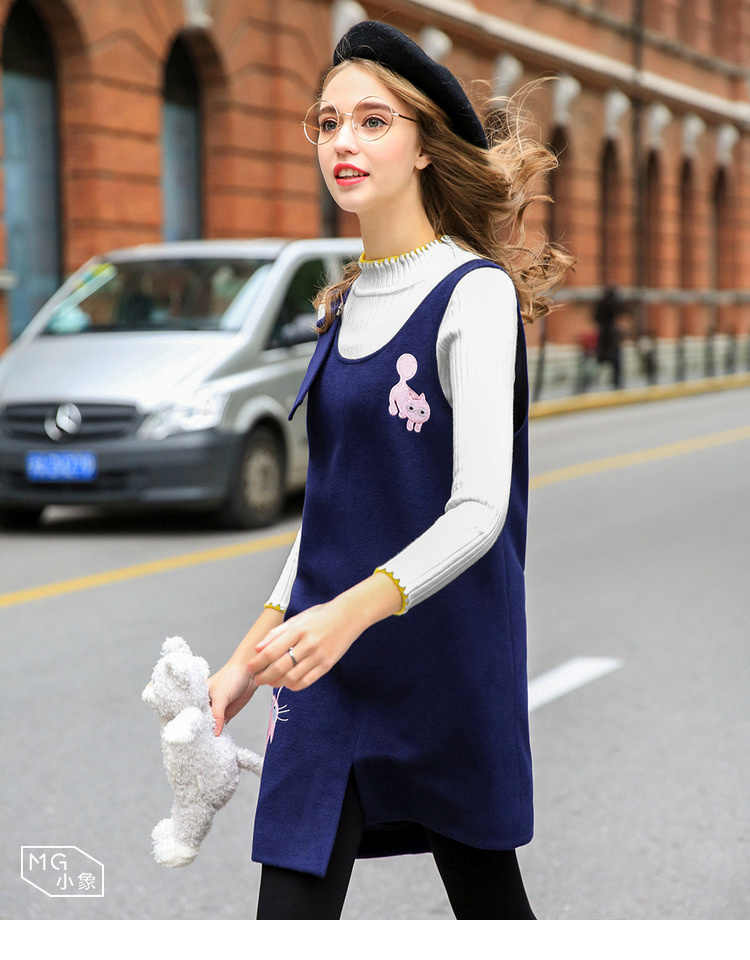 Vihklc 2017新しいファッション春秋dress女性高品質緩い女性ウール刺繍毛深いストラップdressプラスサイズfc58