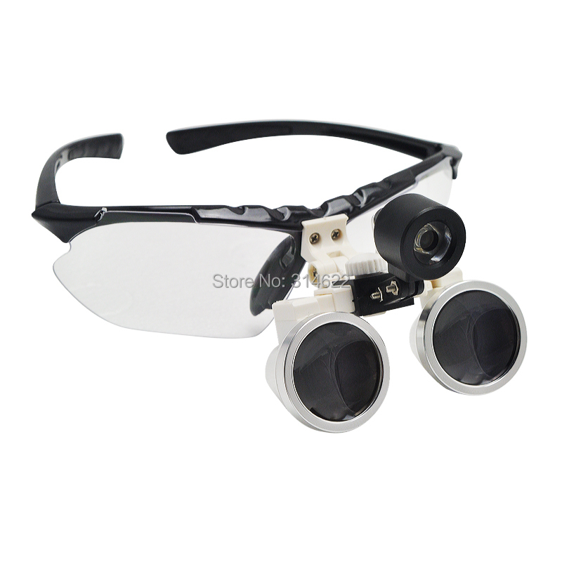 Фотография Surgical Medical Binocular Loupes 2.5X320mm Optical Glass Black + LED head light CE Proved