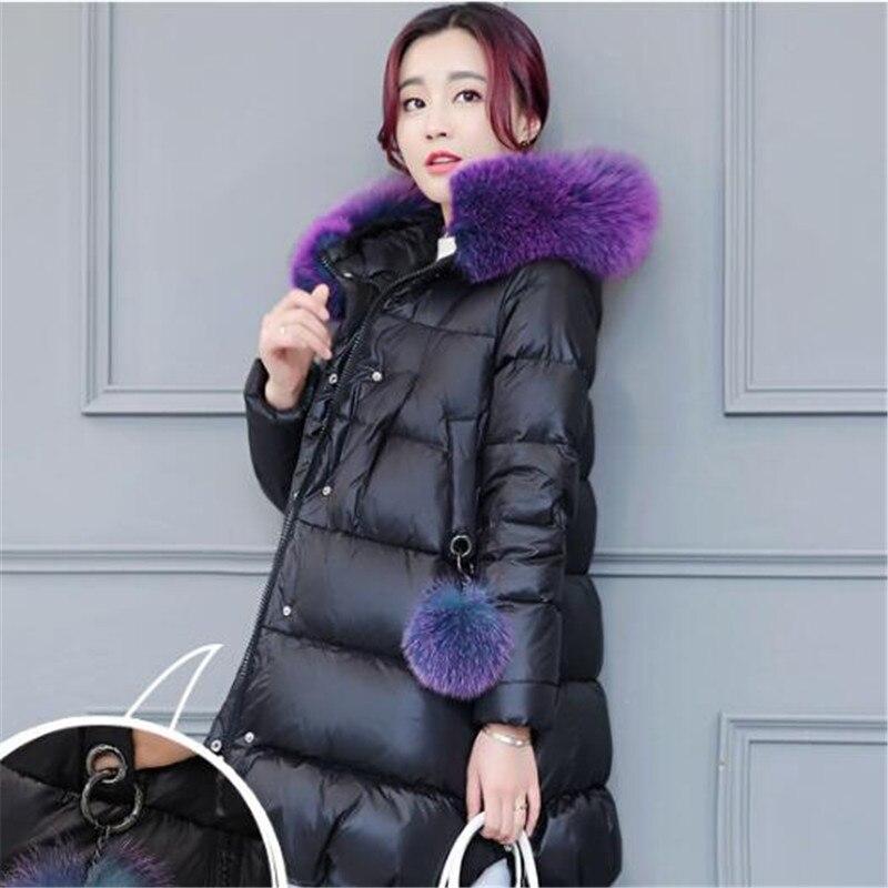 Veste Fourrure Haute Parka D'hiver Manteau Épais Femmes Fur À Coton Fur red Femme Black black Casual Purple Fur Capuchon Qualité Duvet Chaude Réel De Col Tt3413 uJ3clF1TK5