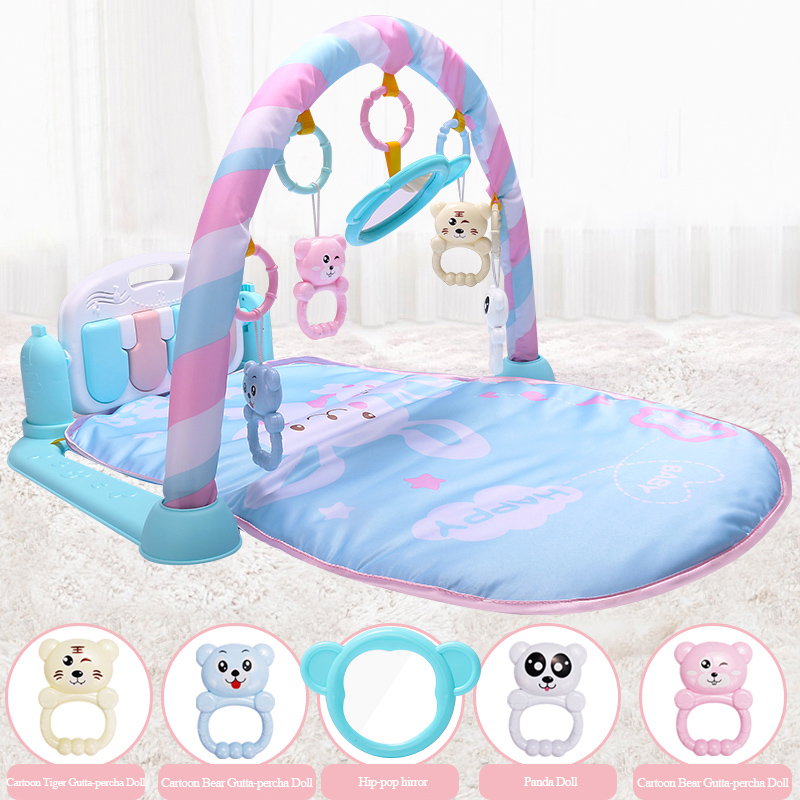 Olago 0-12 Months Kids Rug Gym Toys Baby Play Mat Soft Lighting Rattles Musical Toys For Babies Play Piano Developing Mat Carpet цена 2017