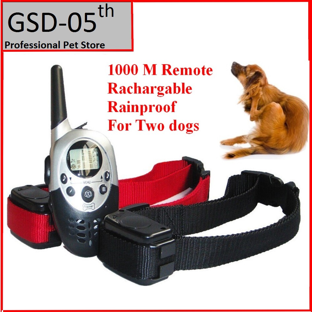 1000 <font><b>M</b></font> Dog Pet Training Collar for Large Medium Dog Rechargeable LCD Remote Electric Shock <font><b>Vibrate</b></font> Sound Dog <font><b>Control</b></font> for 2 Dogs