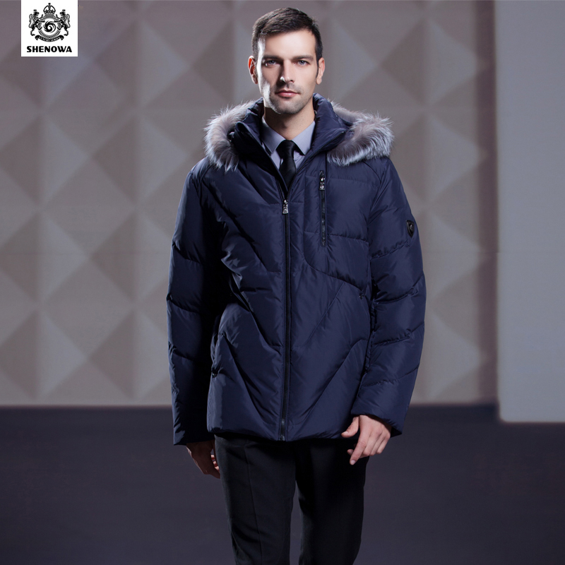 aee3b14d2ba21 SHENOWA The Silver Fox Fur Collar Thickened Man Blue Man Down Jacket-in Down  Jackets from Men s Clothing   Accessories