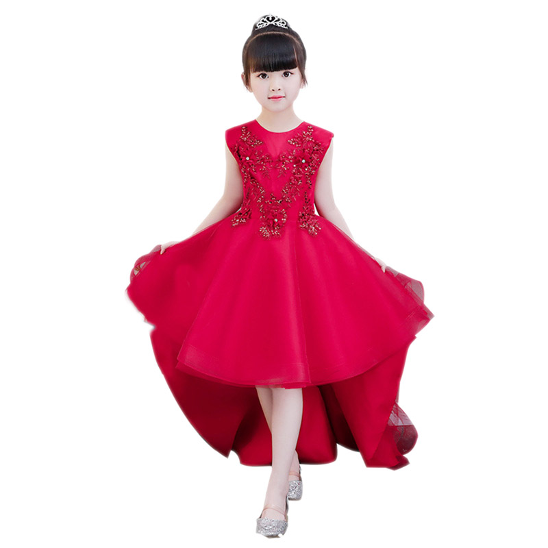 все цены на 2018 New Children Girls Appliques Princess Dress Kids Birthday Wedding Party Ball Gown Mesh Dresses Costume Training Dress E141