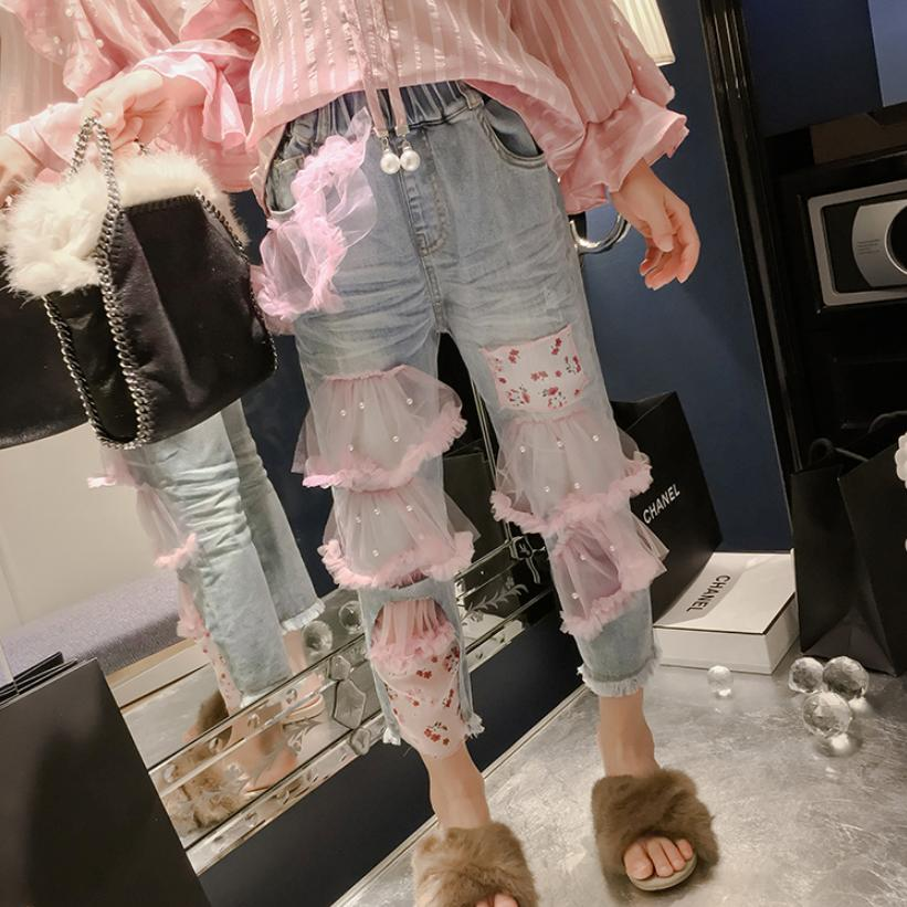 Baby Girl Clothes Childrens Denim Pants 2019 Spring New Fashion Mesh Beading Spliced Jeans Elastic Waist Casual Trousers Y456Baby Girl Clothes Childrens Denim Pants 2019 Spring New Fashion Mesh Beading Spliced Jeans Elastic Waist Casual Trousers Y456