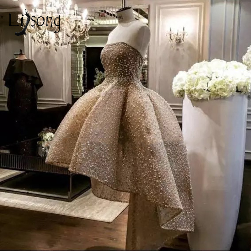 Luxury Champagne Pearls High Low   Prom     Dresses   2018 Abendkleider Saudi Arabic Lace   Prom   Gowns Abiye Long Formal Party   Dress