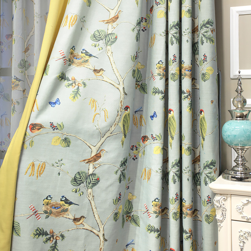 Customizable Luxury Curtain For Bedroom Kitchen Curtains Living Room American Foral Birds Cortinas Window Rings Curtains