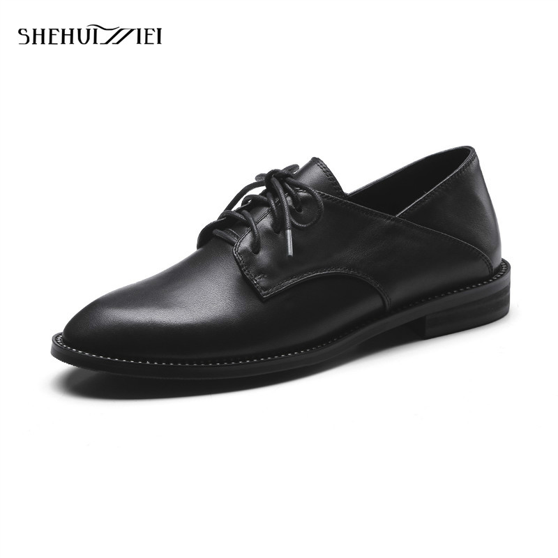 SHEHUIMEI Genuine Leather Flats Oxford Shoes Woman Vintage Brogue Shoes Brand Designer 2018 Fashion British Style Women's Flat shehuimei brand 2018 women flats patent leather oxford shoes woman loafers vintage british style round toe handmade casual shoes