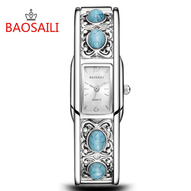 BAOSAILI Vintage Silver Women Watch Brand Turquoise Retro Bangle Bracelet Dress Wrist Watch Steel Band Quartz Watch Clock Gift oki oki c9655dn