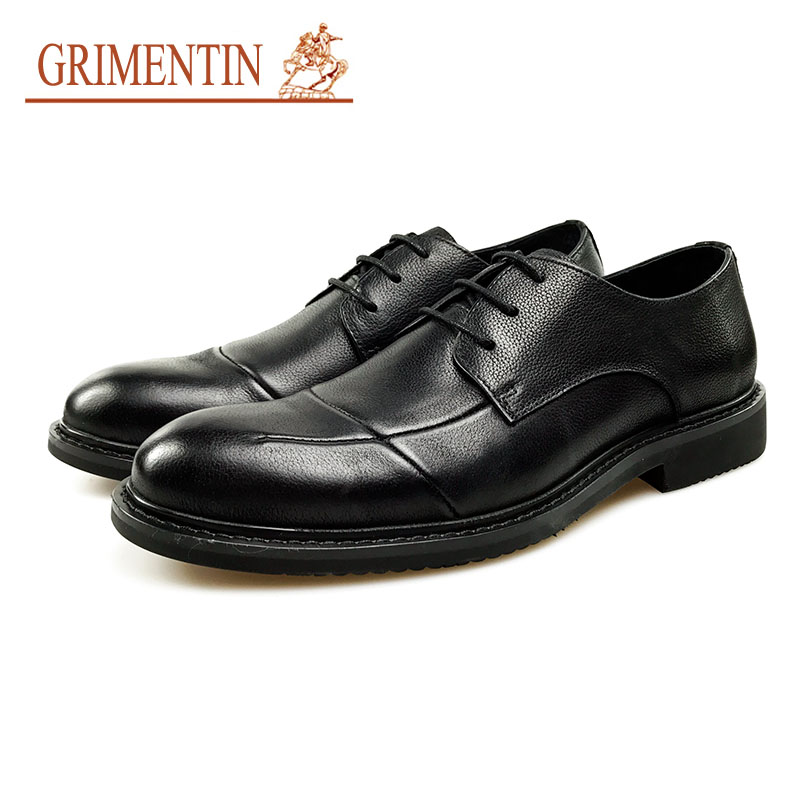 GRIMENTIN Fashion Men Oxford Shoes 2018 Genuine Lather Black Formal Shoes Round Toe Classic Casual Business Shoes grimentin fashion men oxford shoes 2018 genuine lather black formal shoes round toe classic casual business shoes
