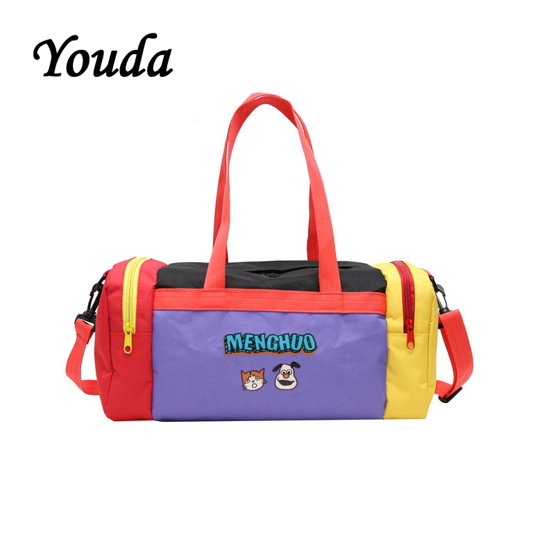 Youda Color Matching Personality Tubular Shoulder Bag Female Cartoon Cute Portable Travel Duffle Large Capacity Travelling Bags