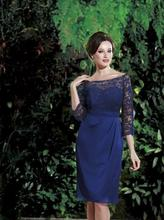 Sexy Scoop Neckline Royal Blue Mother of the Bride Dresses vestidos mae da noiva 2014 Chiffon Lace Short Evening Party Gowns