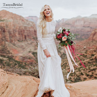 Long Sleeve Lace Chiffon Wedding Dresses Bohemian Vintage Bridal Gowns Romantic Love Robe de soiree DW055