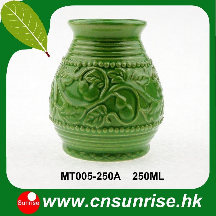 shipping-1Pcs/Lot Yerba Mate Calabaza Ceramic With Emboss
