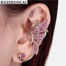 2607ba460413 Kuziduocai Nueva joyería de moda de diamantes de imitación Elves mariposa  Clip de oreja simple Pendientes de oreja izquierda par.
